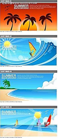 夏季大海航帆手绘背景画