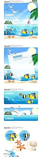 夏季沙滩大海手绘背景画