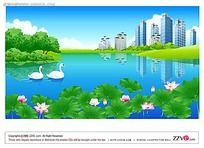 小区湖面美景手绘背景画