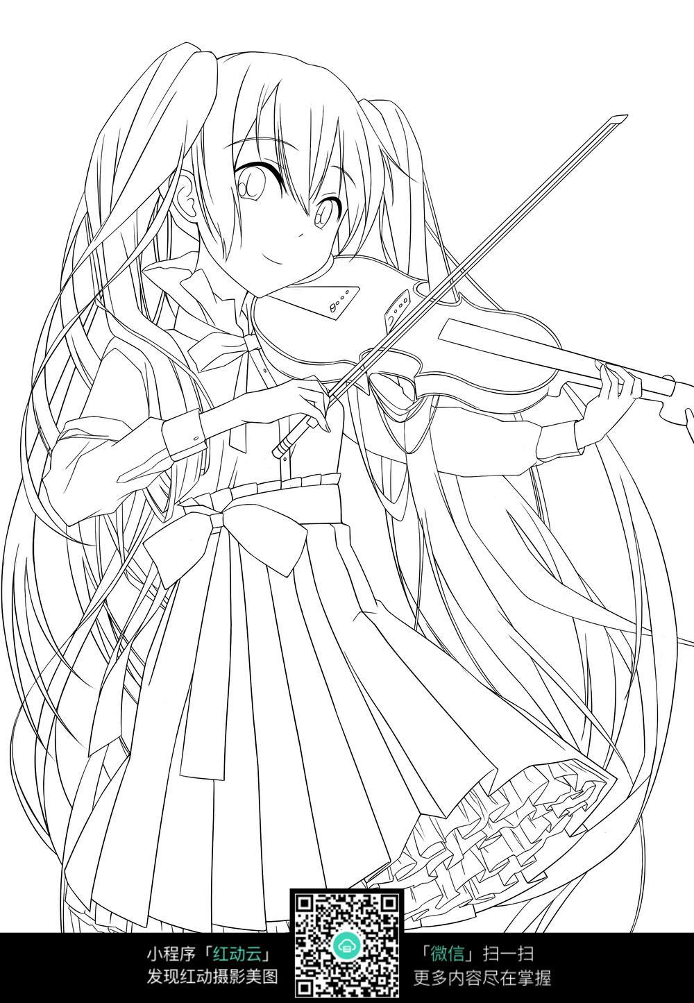 小提琴 女孩 卡通 手绘线稿图片
