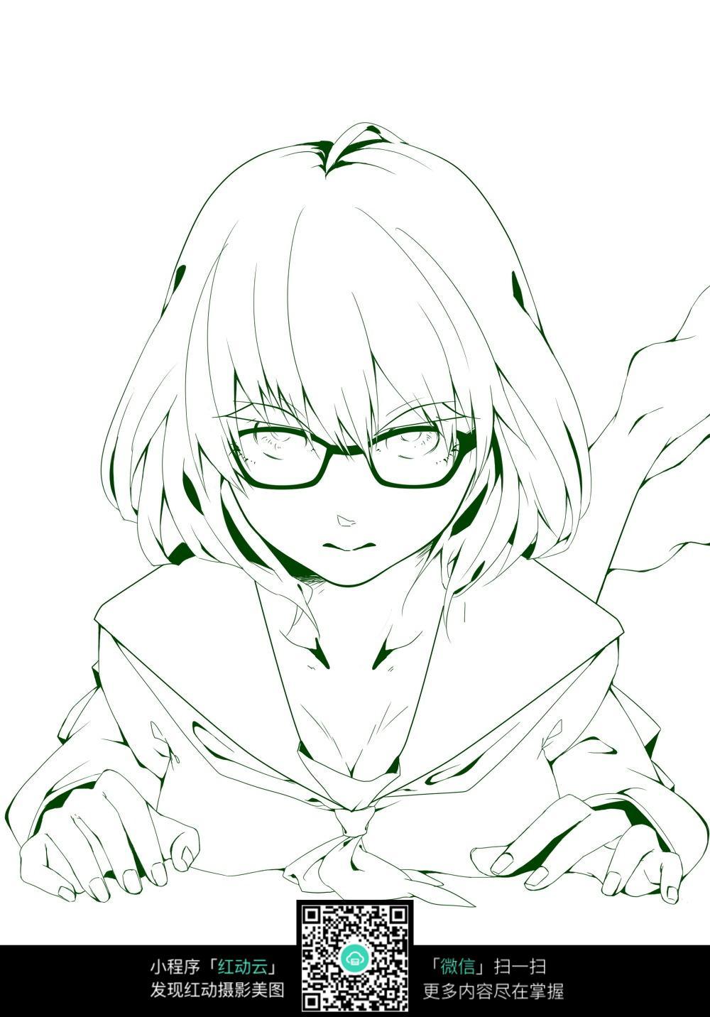 眼镜女孩卡通手绘线稿图片