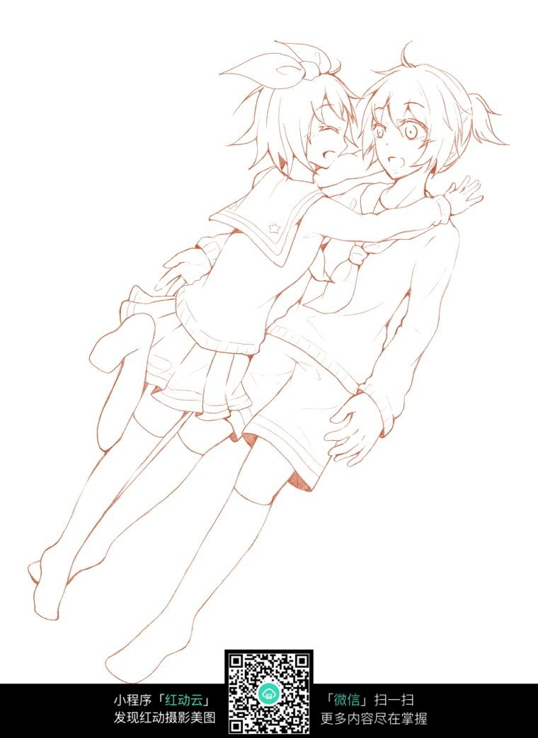 拥抱的女孩卡通手绘线稿