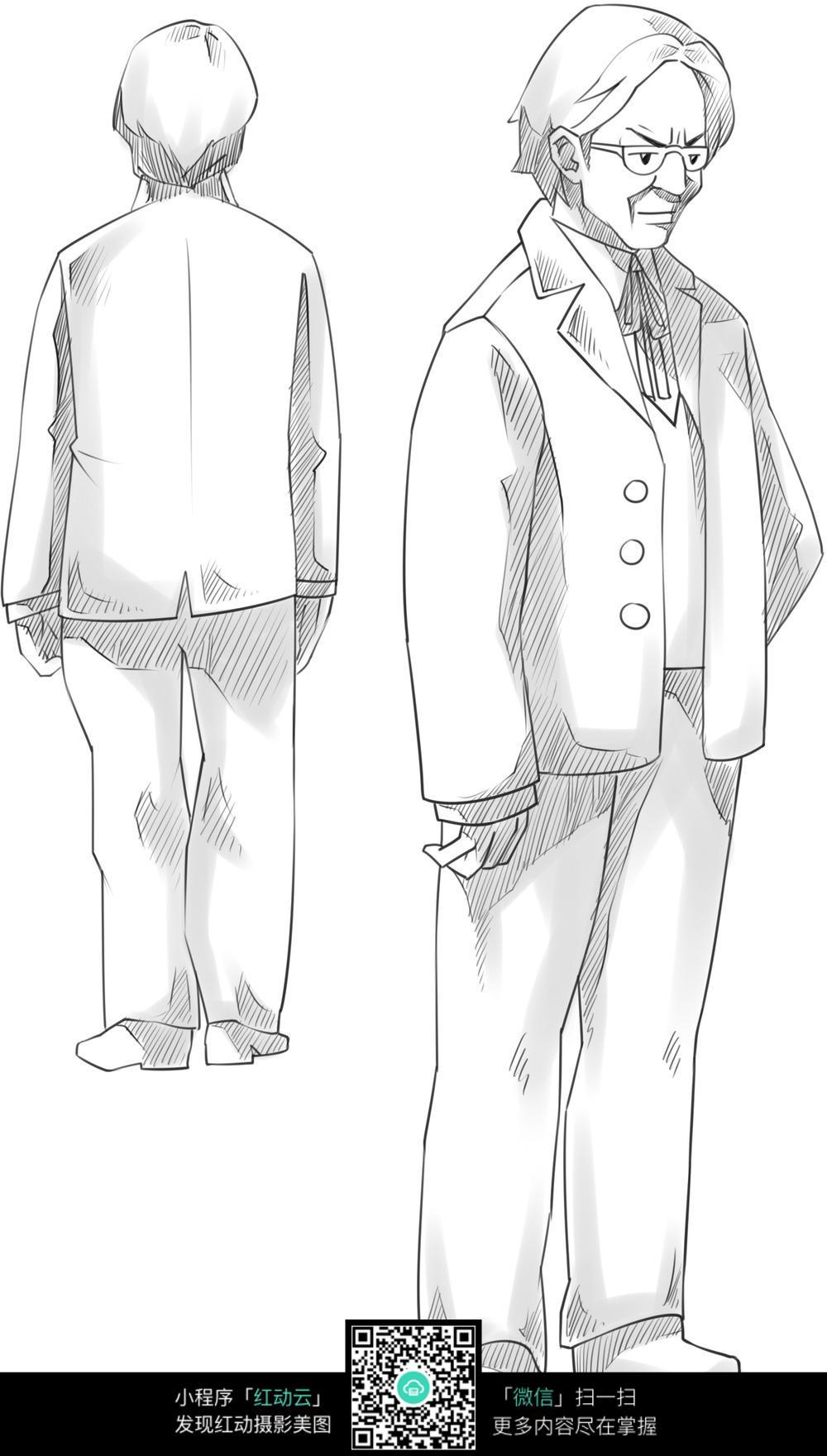 中年男子卡通手绘线稿