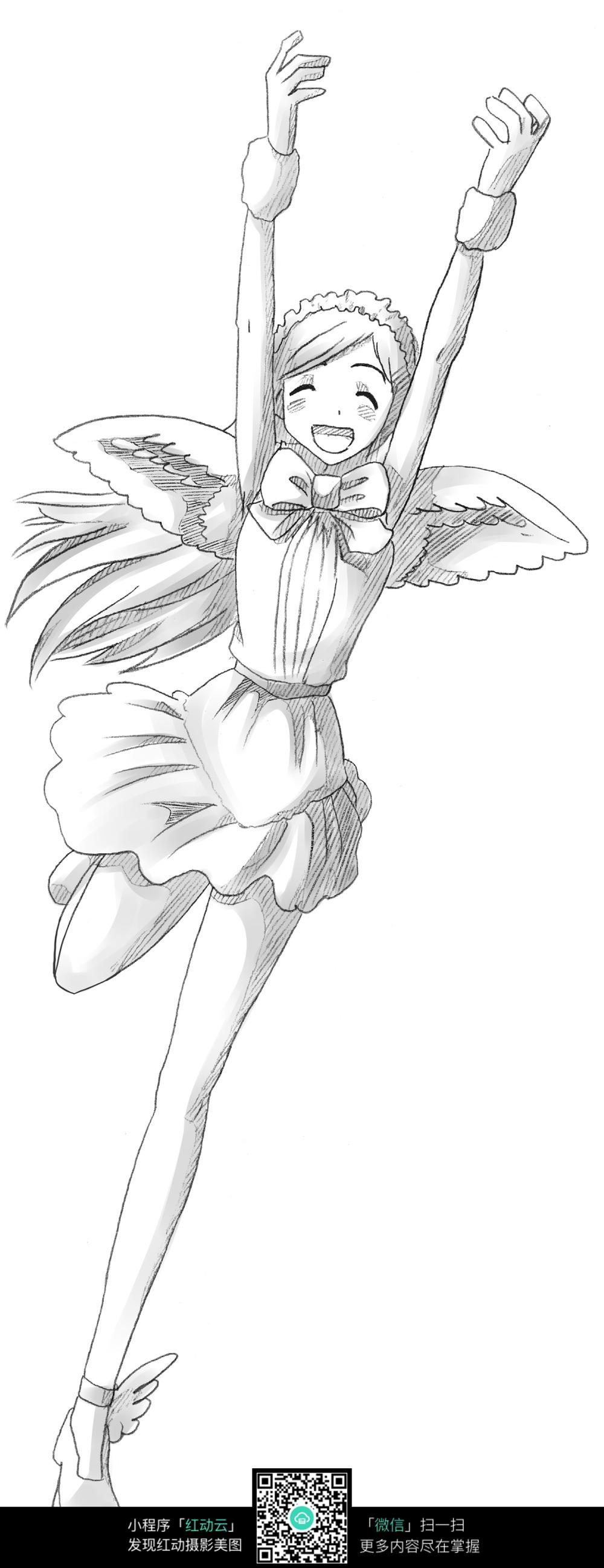 奔跑的少女卡通手绘线稿