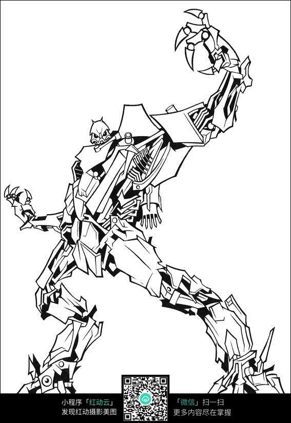 免费素材 图片素材 漫画插画 人物卡通 变形金刚变形线描  请您分享