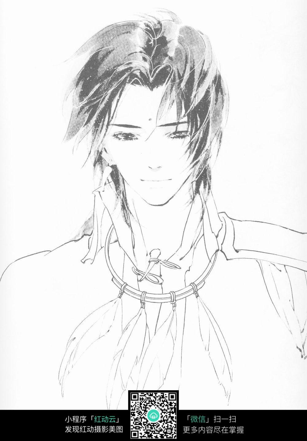 黑白手绘男生图片