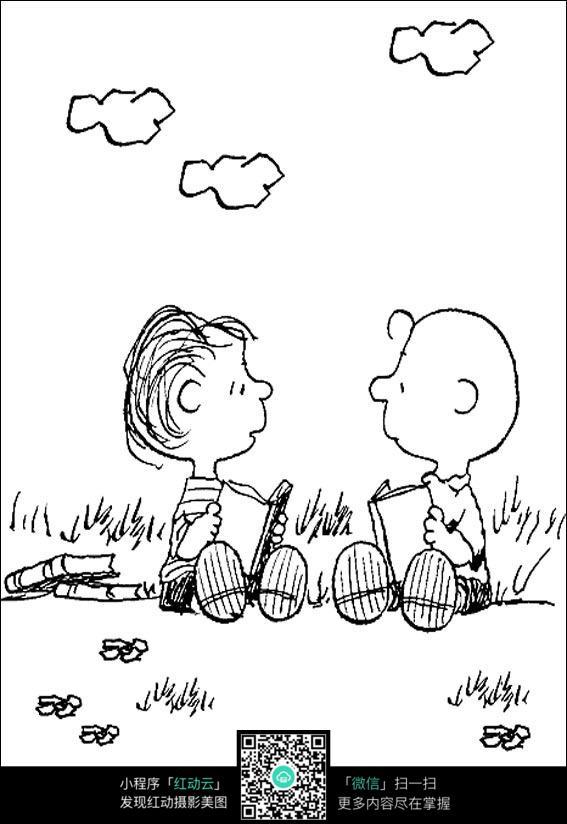 草地手绘简笔画