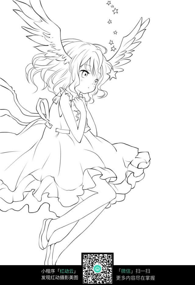 长翅膀的卡通女孩图片