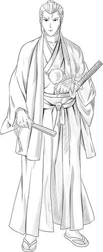 长发男子卡通手绘线稿