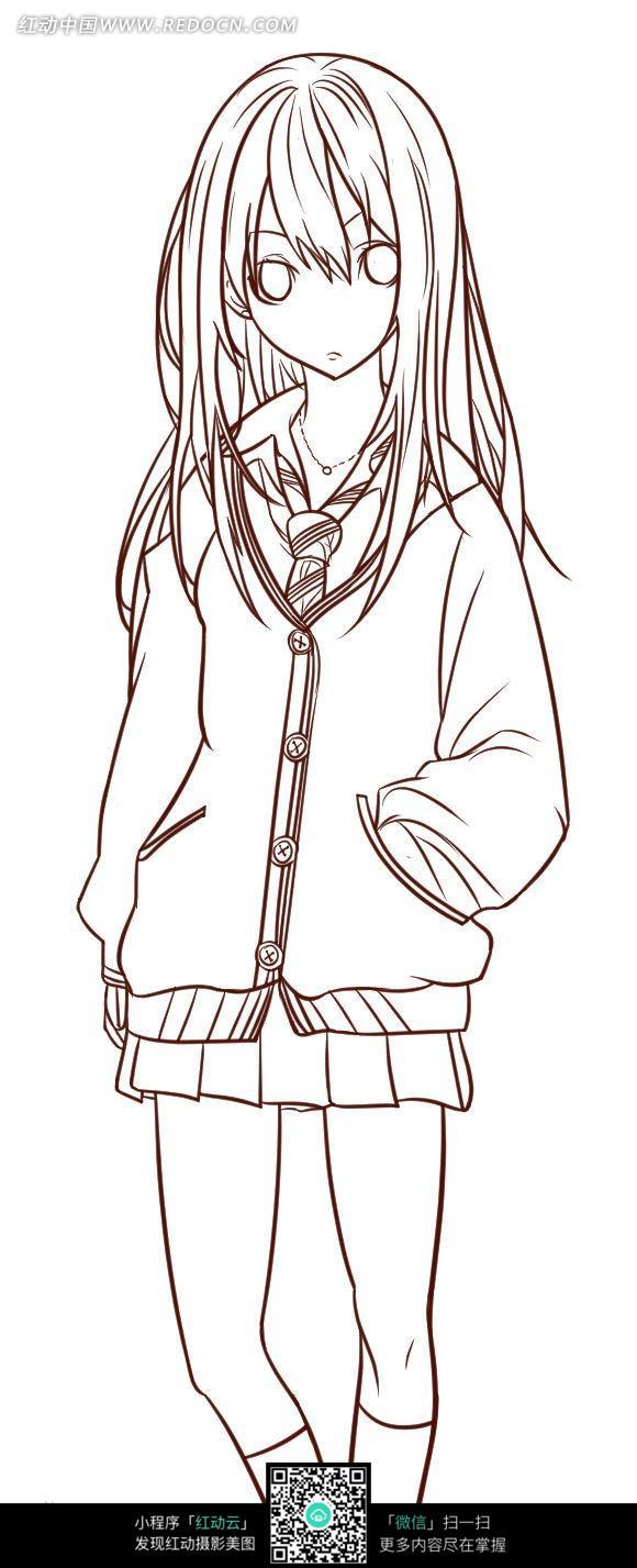 长发女孩卡通手绘线稿图片