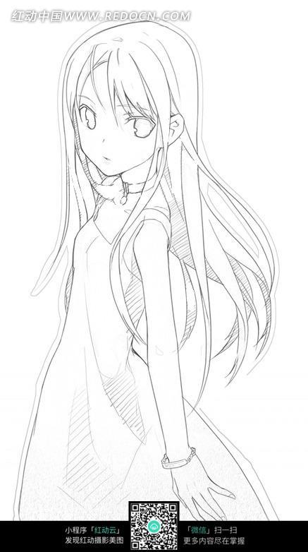 长发女孩卡通手绘线稿_人物卡通图片