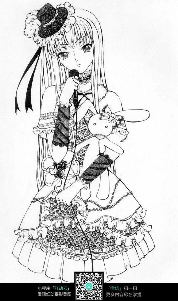 免费素材 图片素材 漫画插画 人物卡通 唱歌的女歌手线描