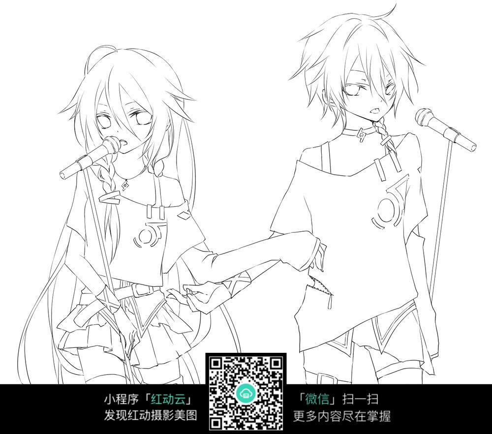 唱歌的女孩卡通手绘线稿图片免费下载 红动网