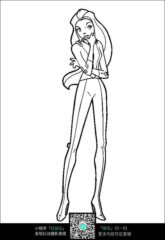 长腿美女线描_人物卡通图片