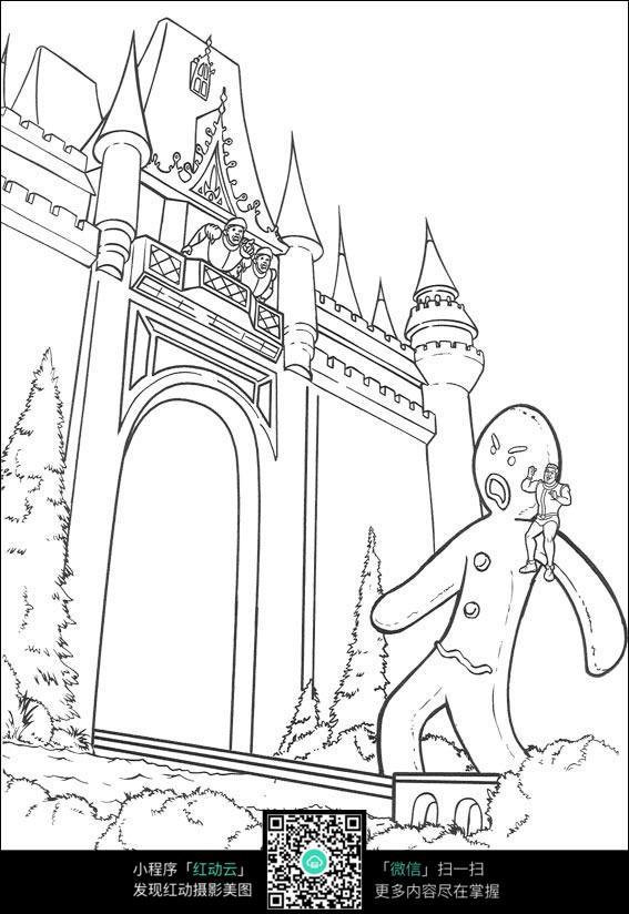 城堡下的人线描_人物卡通图片