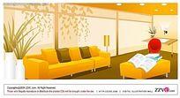 橙色办公空间手绘背景画