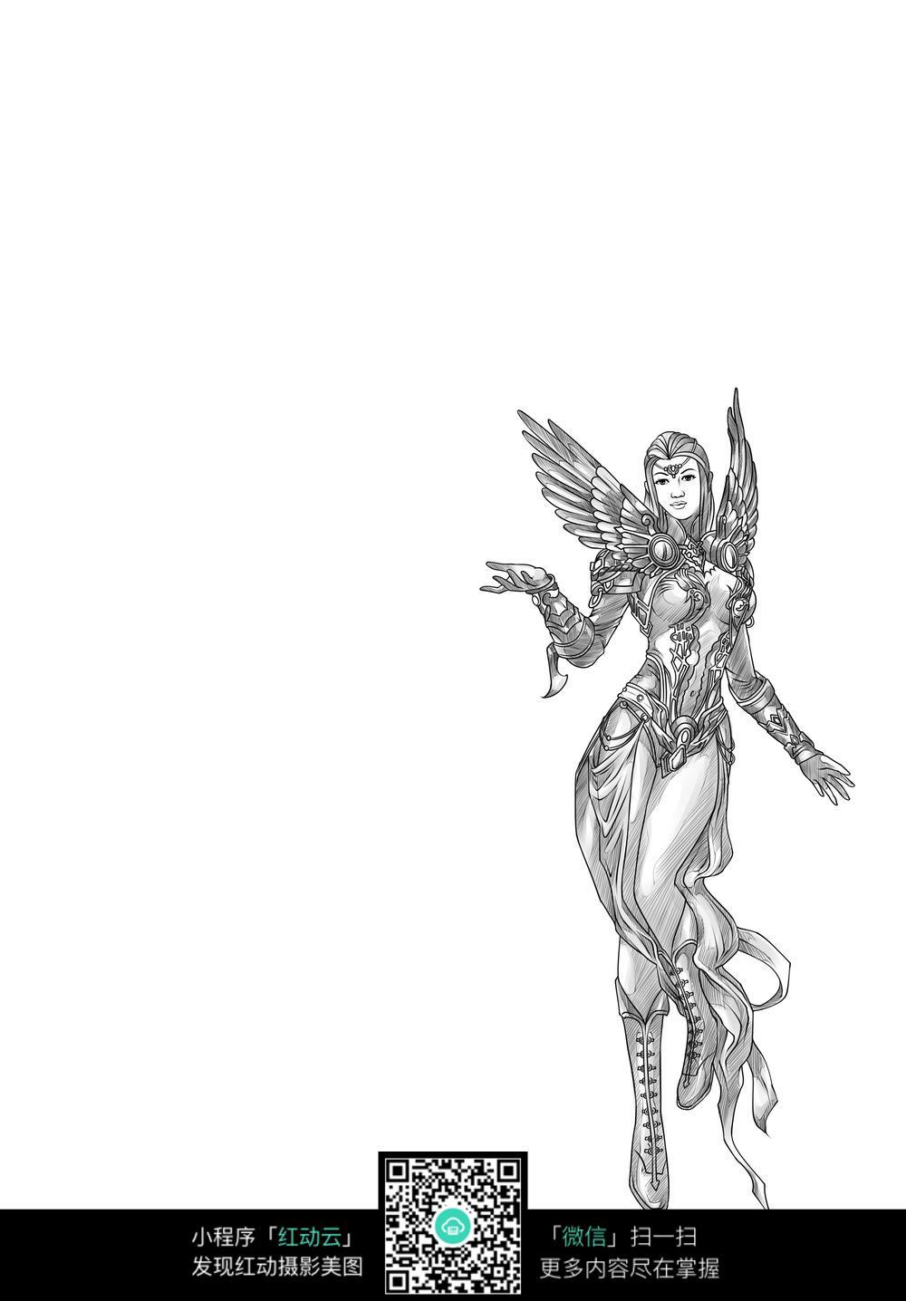 翅膀女子卡通手绘线稿图片