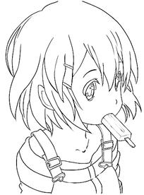 吃漫画的冰棒卡通手绘线稿绘画-插画女孩|图片漫画感人恐怖