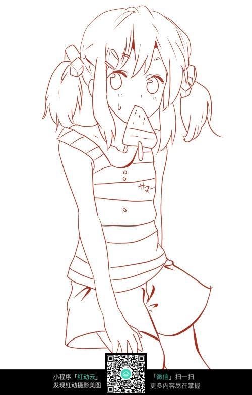 吃冰棒的女孩卡通手绘线稿