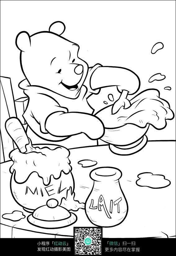 吃蜂蜜的卡通小熊
