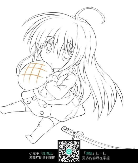 吃面包的女孩卡通手绘线稿