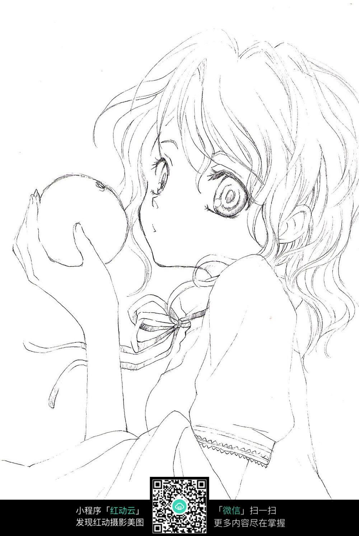 吃水果的女孩卡通手绘线稿