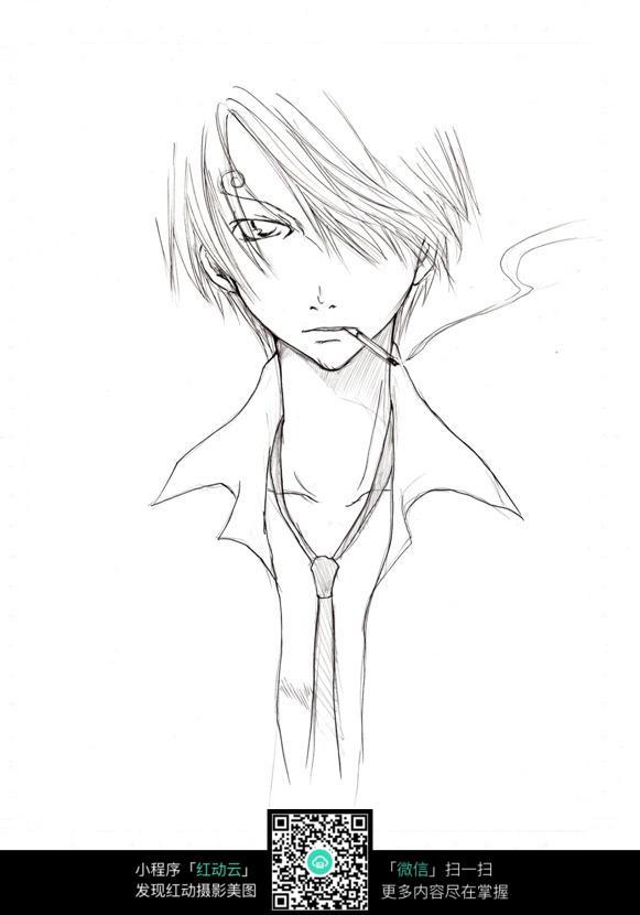 抽烟的少年卡通手绘线稿