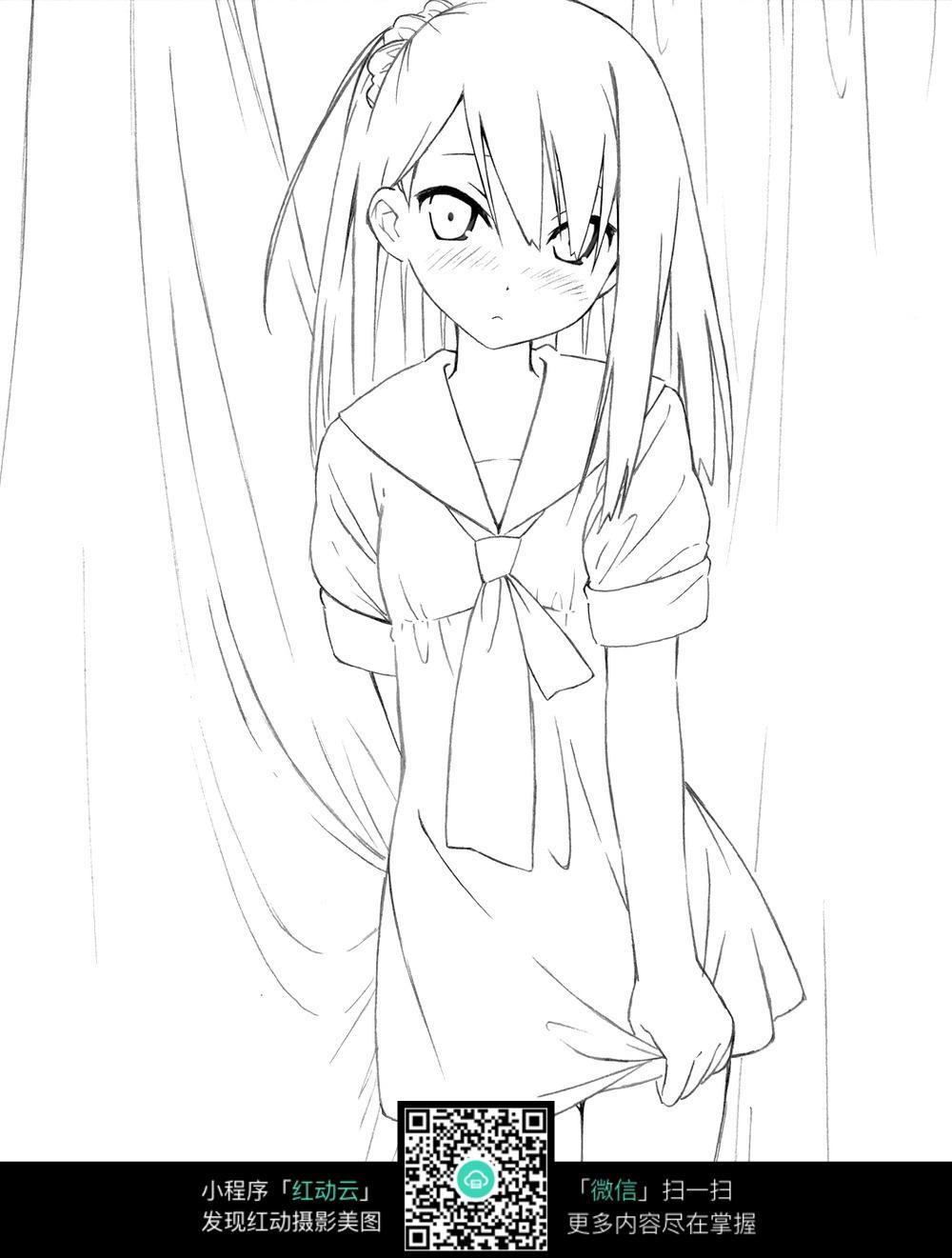 窗帘和女孩卡通手绘线稿