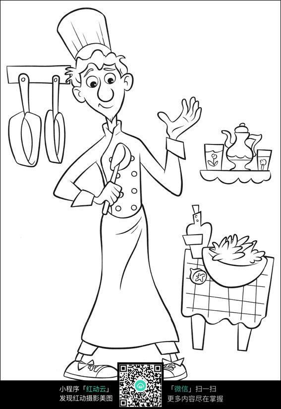 厨房里做饭的男孩_人物卡通图片