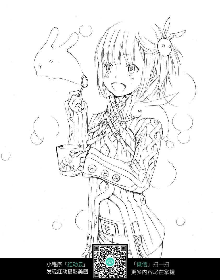 吹泡泡的女孩卡通手绘线稿图片