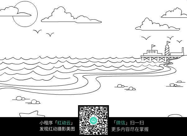 大海卡通黑白线稿图片免费下载 编号3744668 红动网