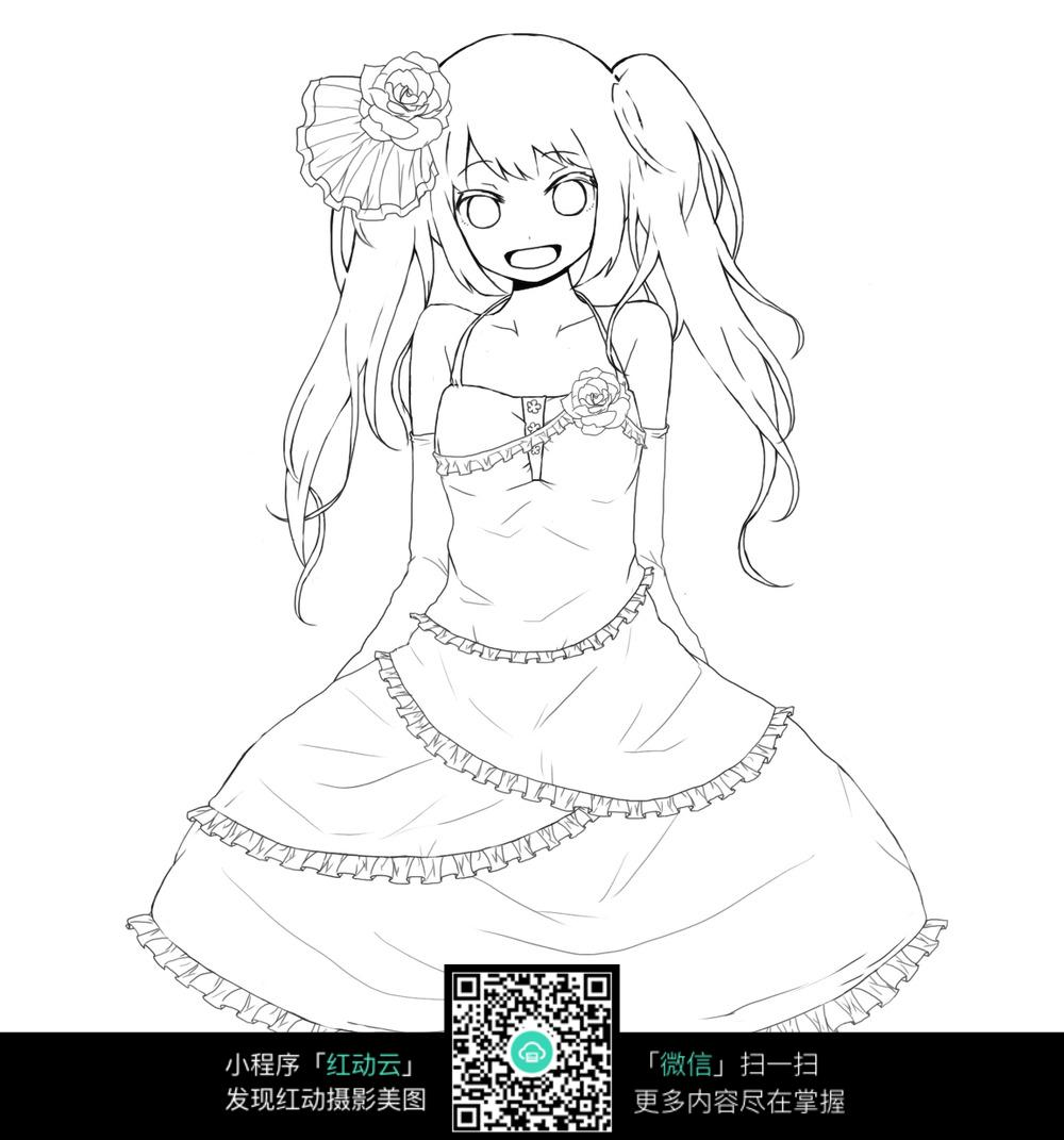 戴花的女孩卡通手绘线稿