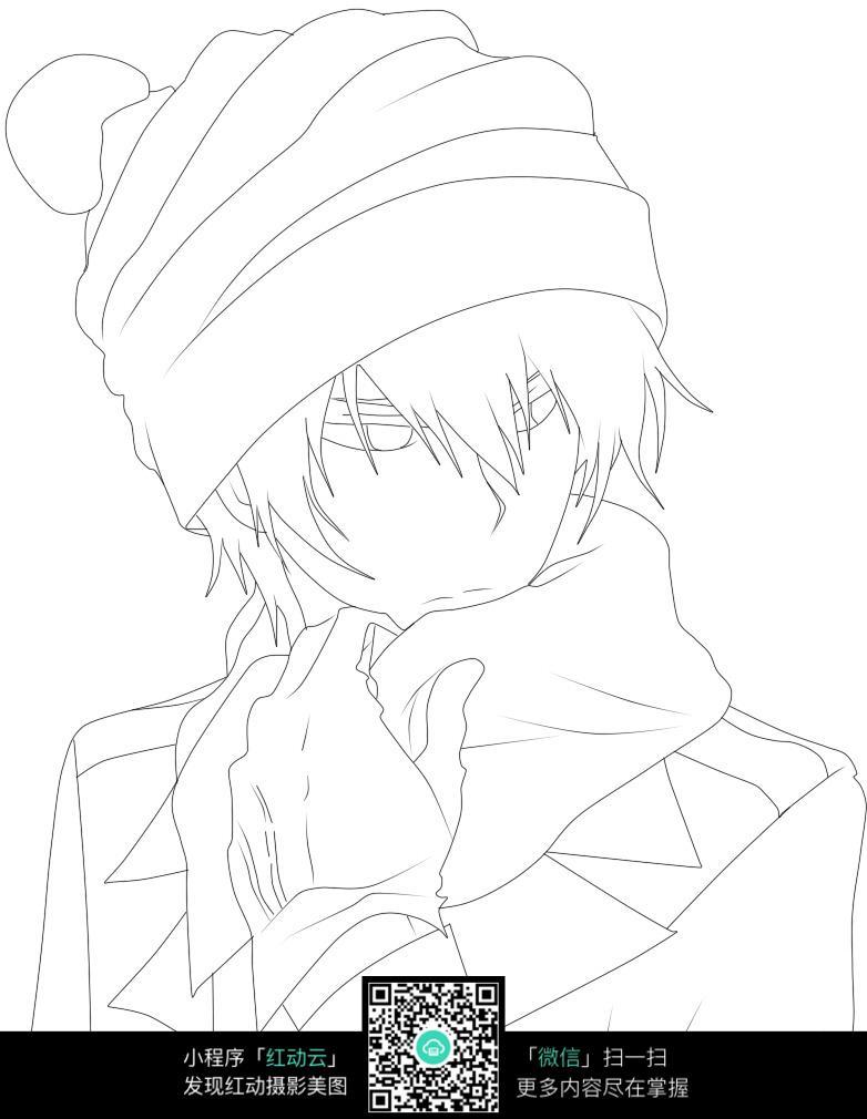 戴帽子的男孩卡通手绘线稿图片