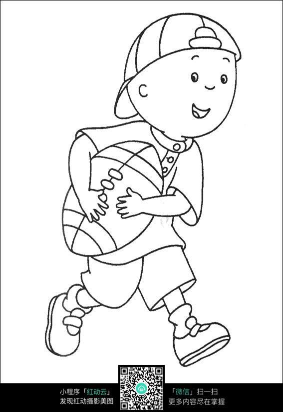 戴帽子的男孩卡通手绘线稿_人物卡通图片