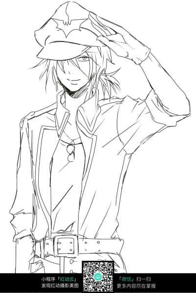 戴帽子的 男孩 卡通 手绘线稿