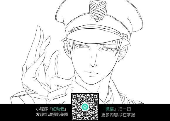 戴帽子的男子卡通手绘线稿_人物卡通图片