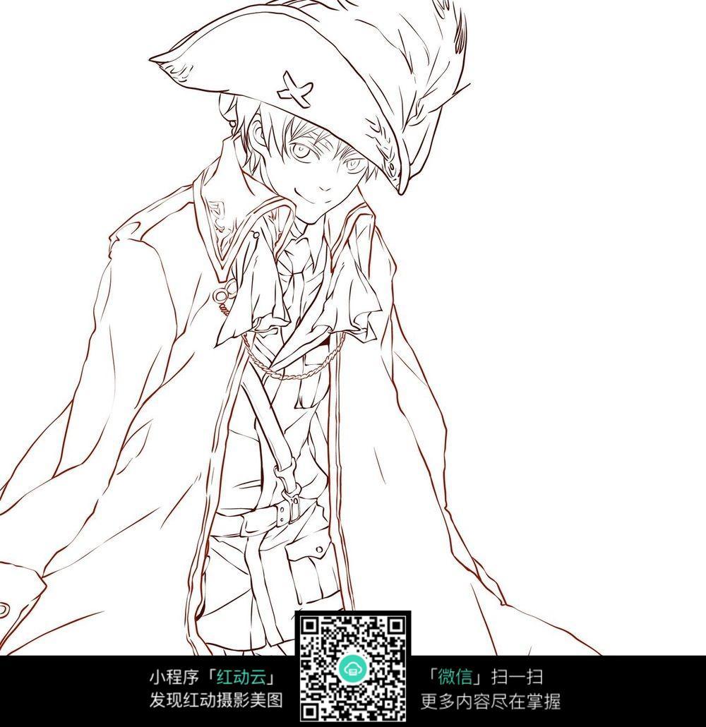 戴帽子的少年卡通手绘线稿