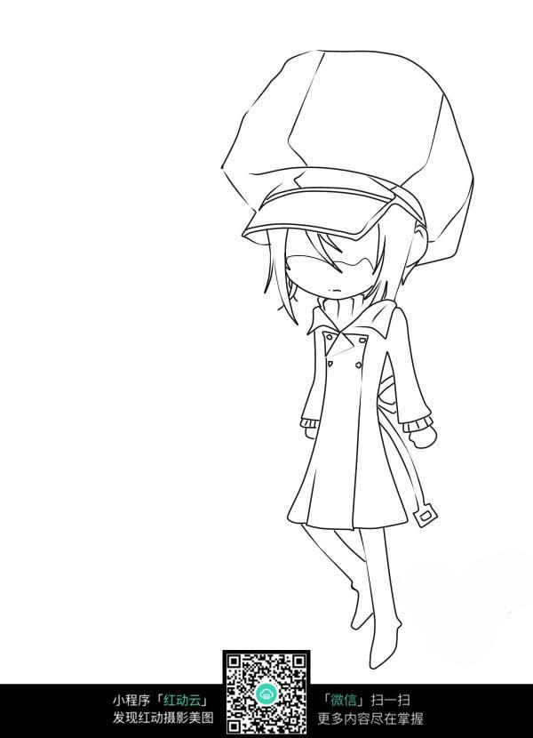 戴帽子的小孩卡通手绘线稿_人物卡通图片