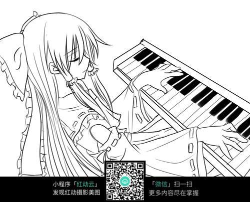 弹钢琴的女孩卡通手绘线稿