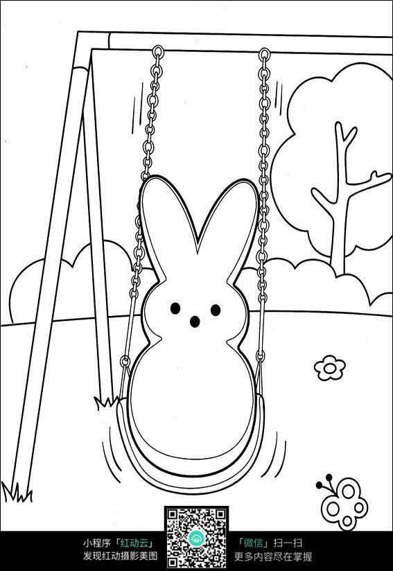 荡秋千的兔子卡通手绘线稿图片