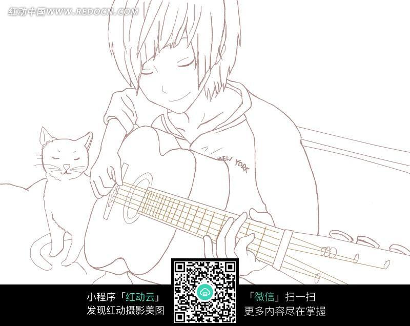弹吉他的男孩卡通手绘线稿图片