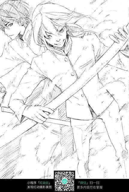 刀和少年卡通手绘线稿