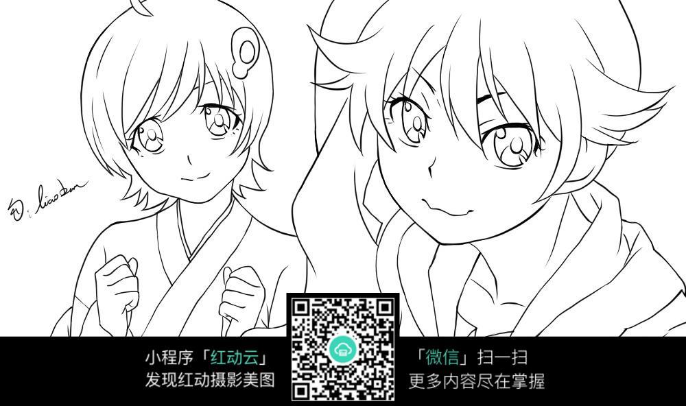 短发女孩卡通手绘线稿_人物卡通图片_编号3737758_红