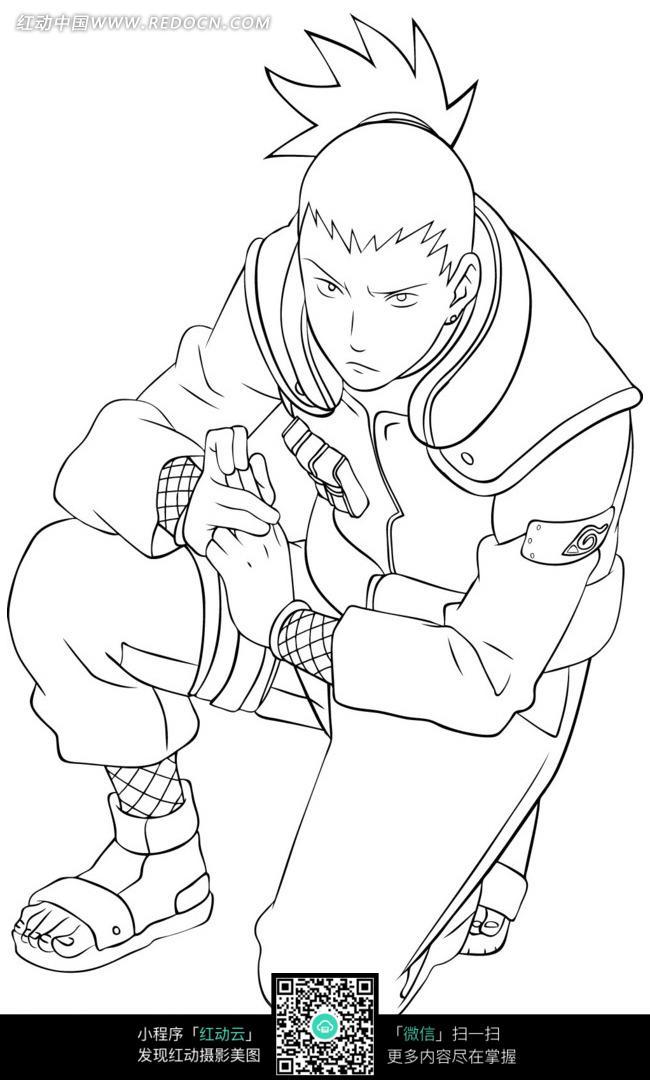 蹲着的少年卡通手绘线稿图片免费下载 编号3679963 红动网