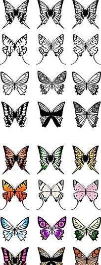 蝴蝶手绘侧面图形
