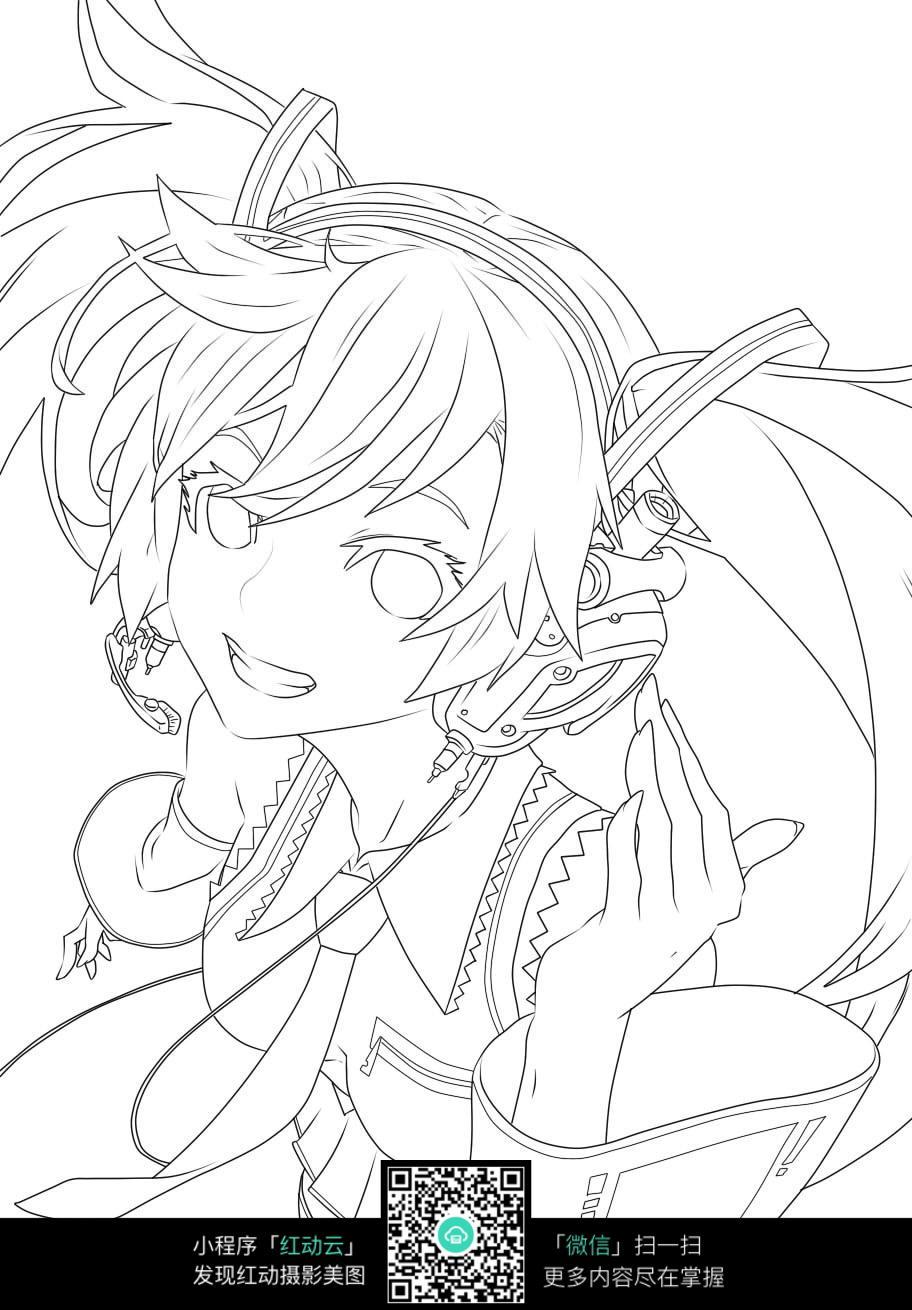 耳机和女孩卡通手绘线稿