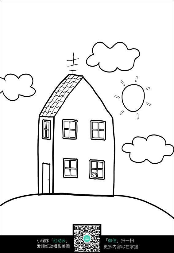 房子和白云卡通手绘线稿