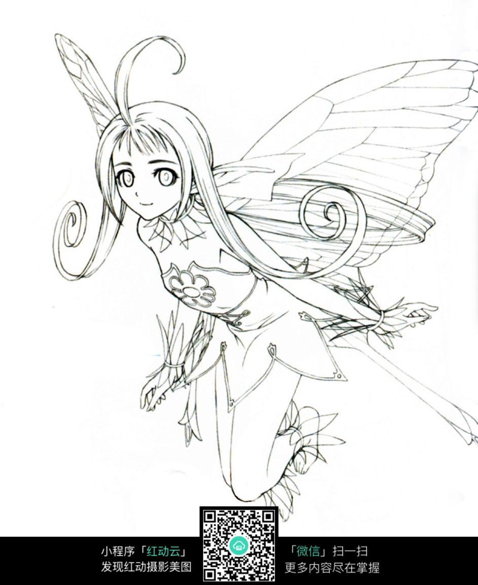 飞舞的花仙子线描图片