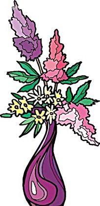 粉色小花手绘盆景画
