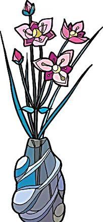 粉色小花手绘线描画